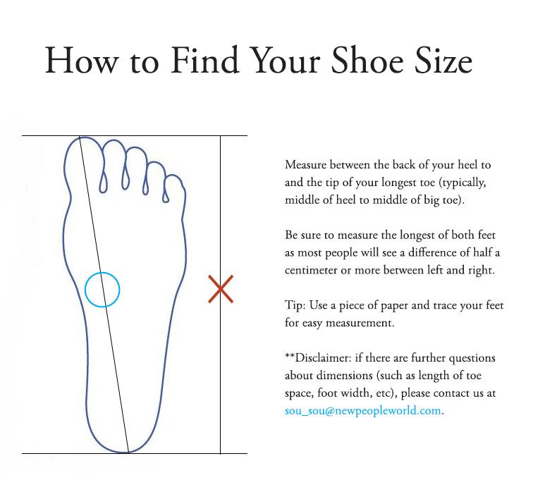 5230f8270b Shoes Size Chart : SOU • SOU US Online Store